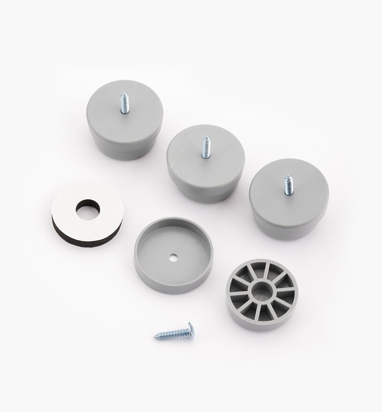 93K8364 - Patins de 11/2po de diamètre, gris, le paquet de4