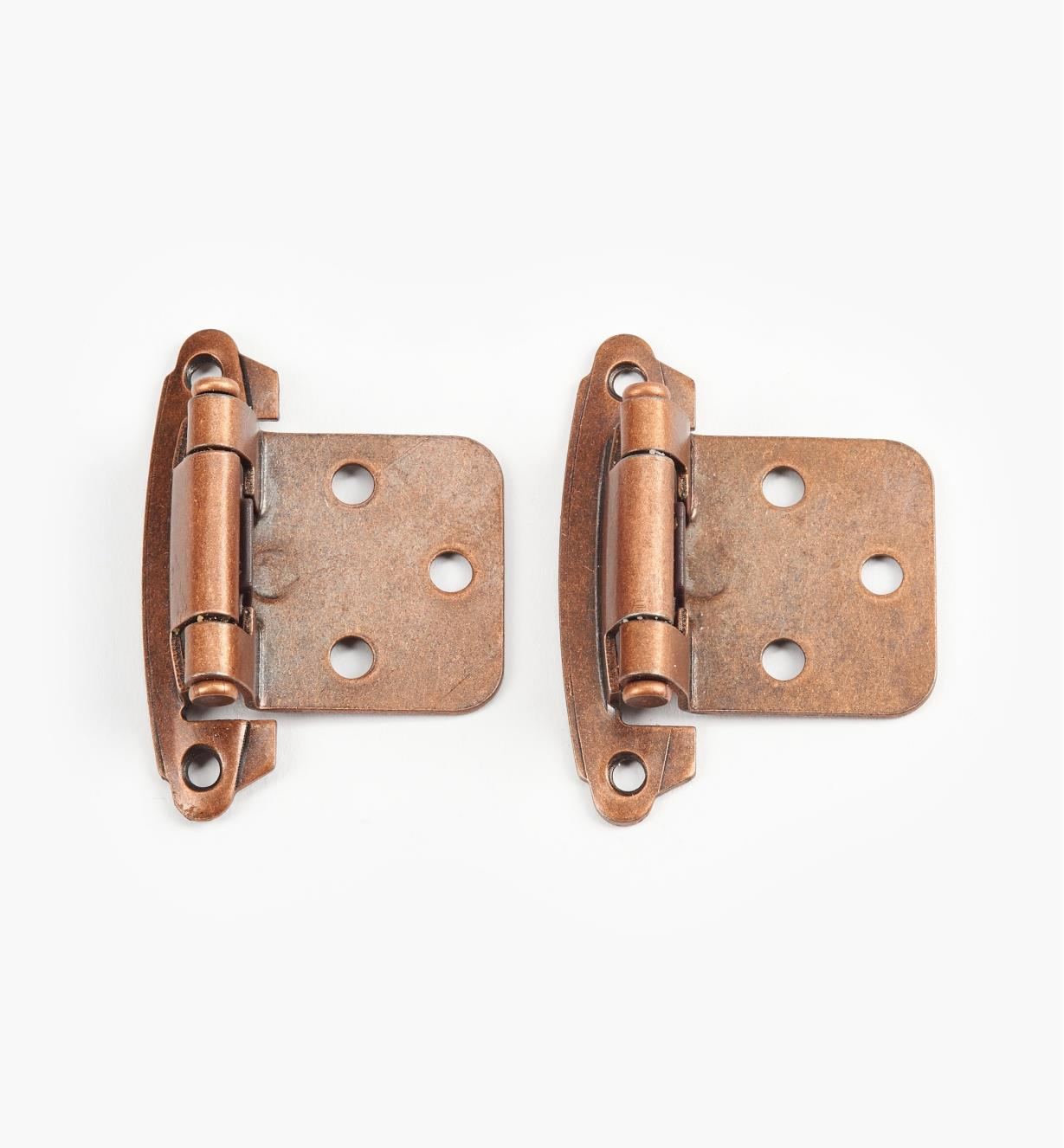 99X0171 - Belwith Self-Closing Flush-Mount Hinges, Antique-Copper, pkg. of 10 pairs