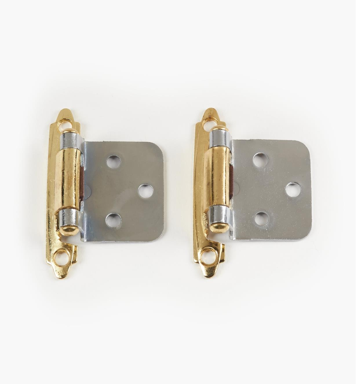 99X0173 - Belwith Self-Closing Flush-Mount Hinges, Brass-with-Chrome, pkg. of 10 pairs