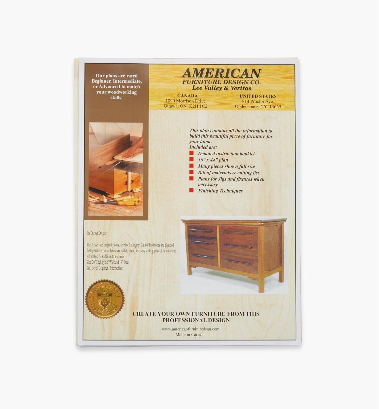 01L5078 - Six- Drawer Dresser Plan