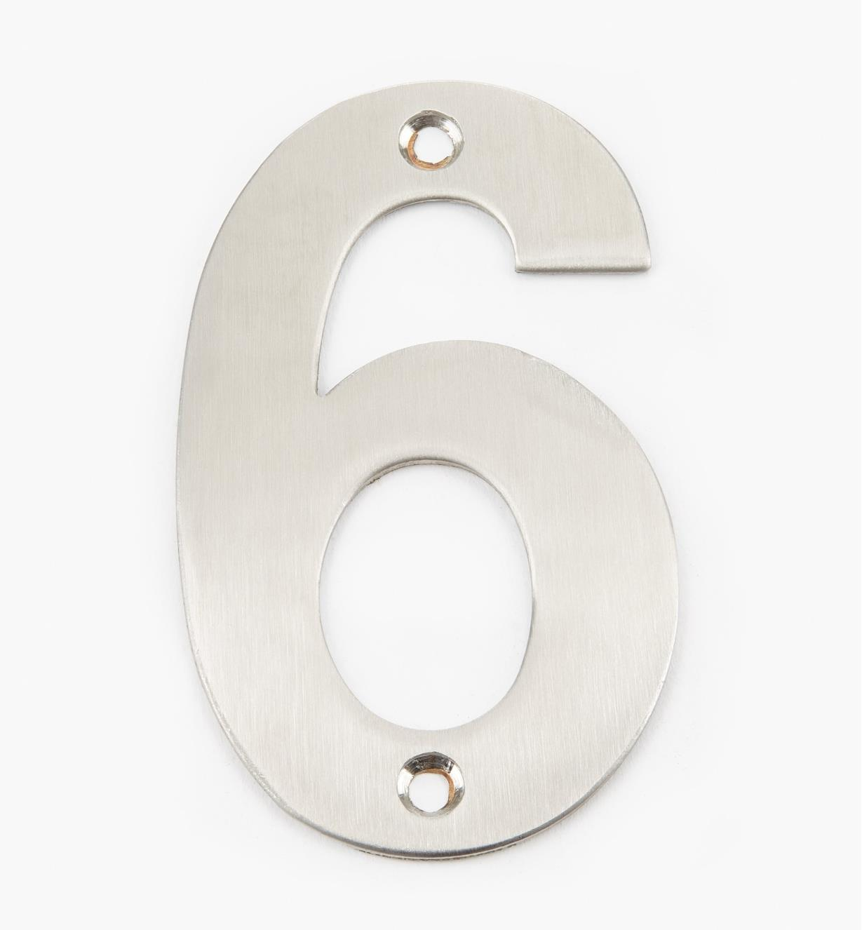 00W0886 - 100mm Stainless-Steel House Number - 6