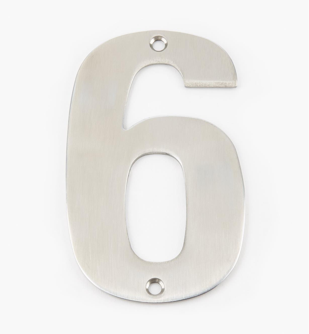 00W0896 - 130mm Stainless-Steel House Number - 6