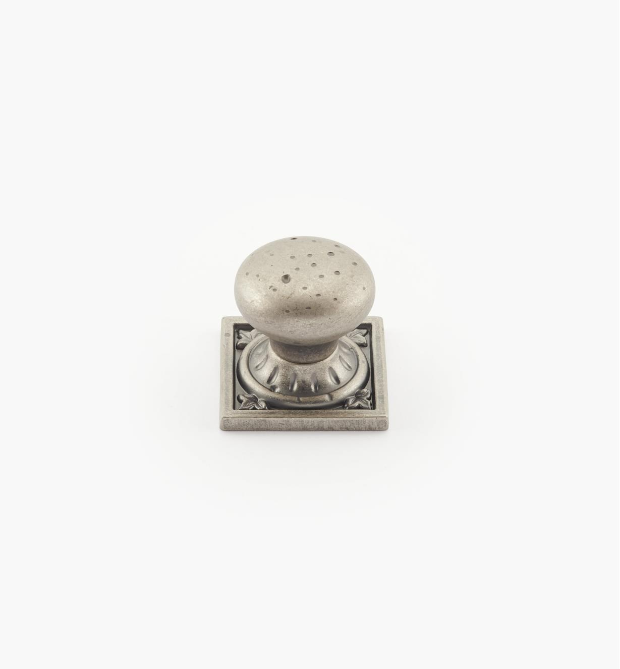 "02A2633 - Ambrosia 1 1/4"" x 1 1/4"" Weathered Nickel Square Knob"