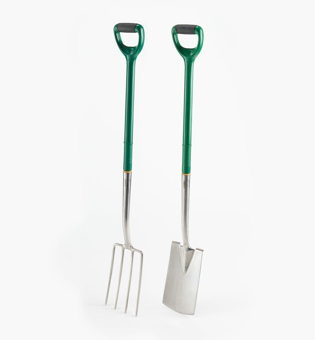 PG246 - Bêche et fourche à bordures, manche d'acier, la paire
