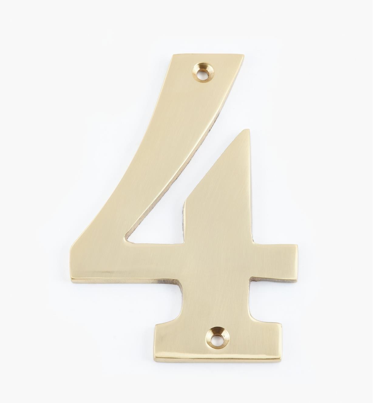 "00W0554 - 4"" Standard Polished Brass Number - 4"