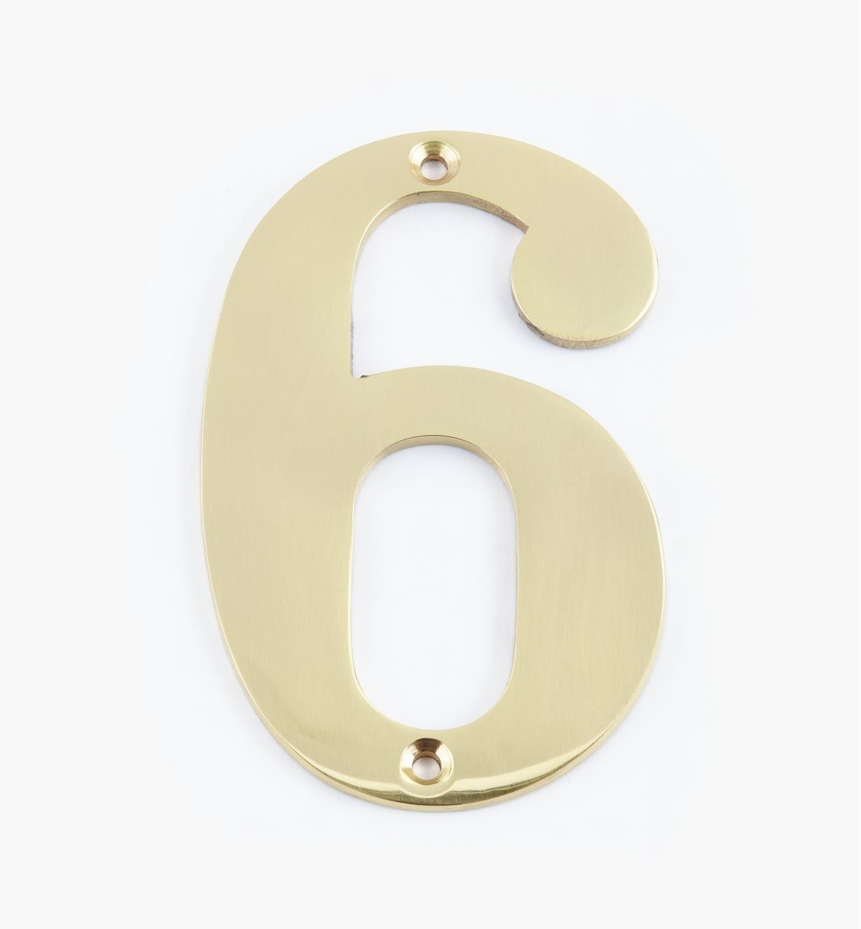 "00W0556 - 4"" Standard Polished Brass Number - 6"
