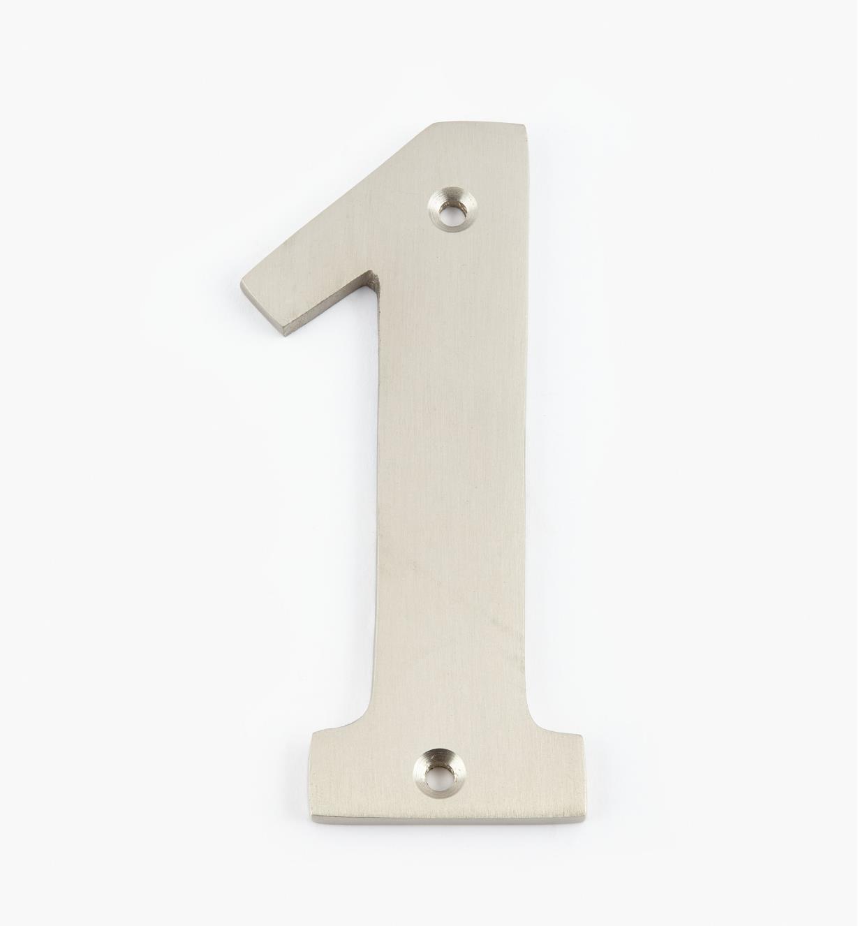 00W0561 - Chiffre de maison standard de 4po, fini nickel satiné –1