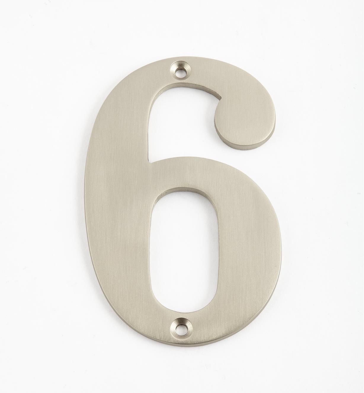 00W0566 - Chiffre de maison standard de 4po, fini nickel satiné –6