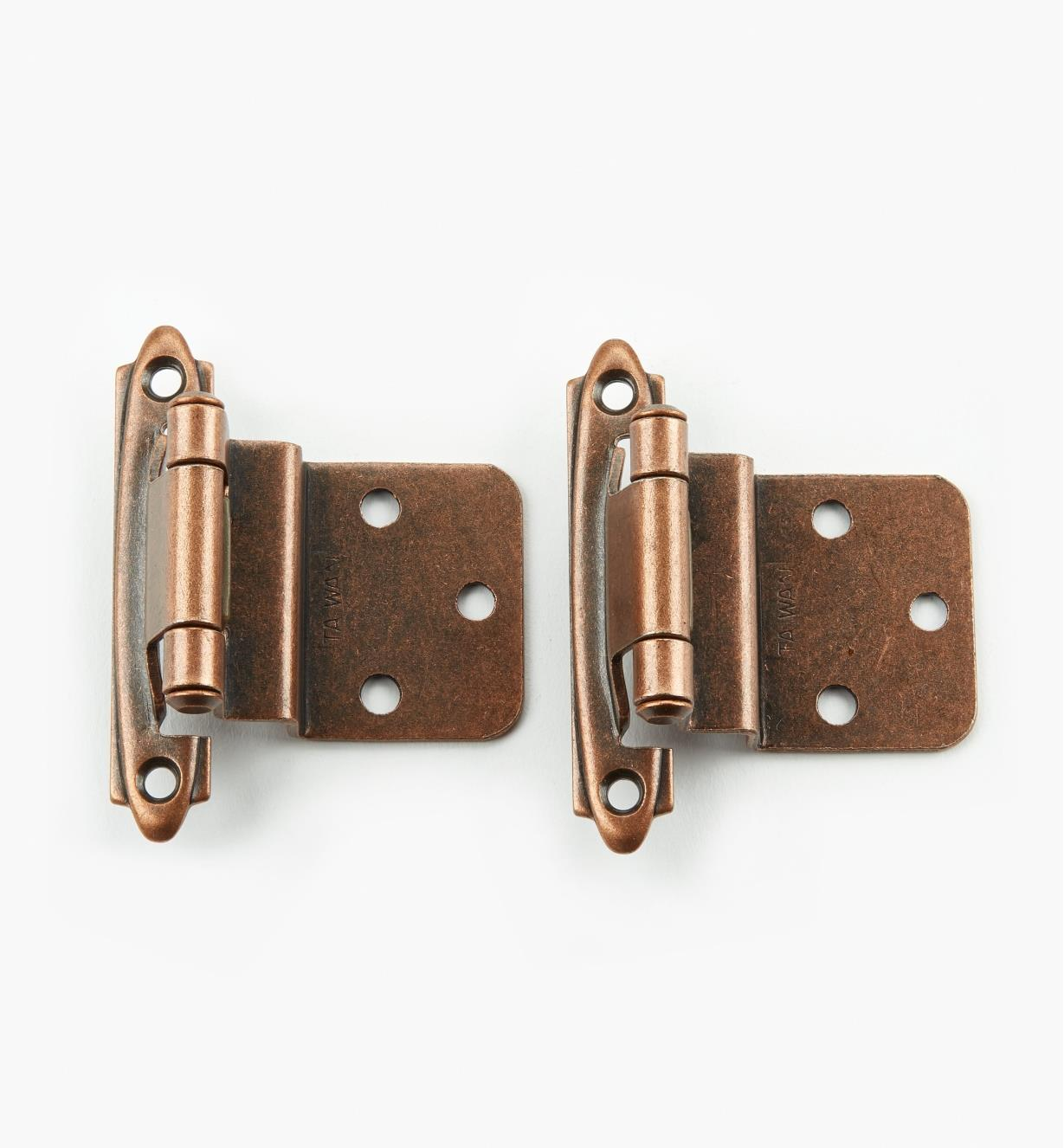 "00W2745 - Antique Copper,3/8"" Inset Overlay Door Hinges, pr."