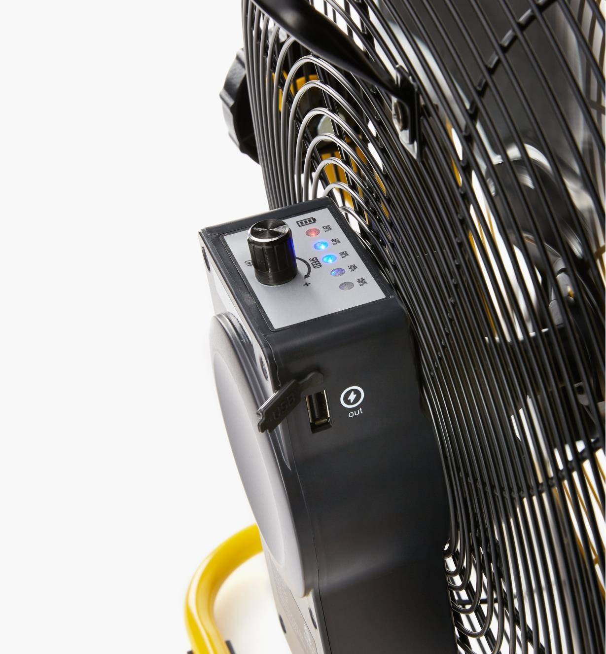 Back of rechargeable high-velocity fan, showing fan controls, five-LED scale and USB charge port