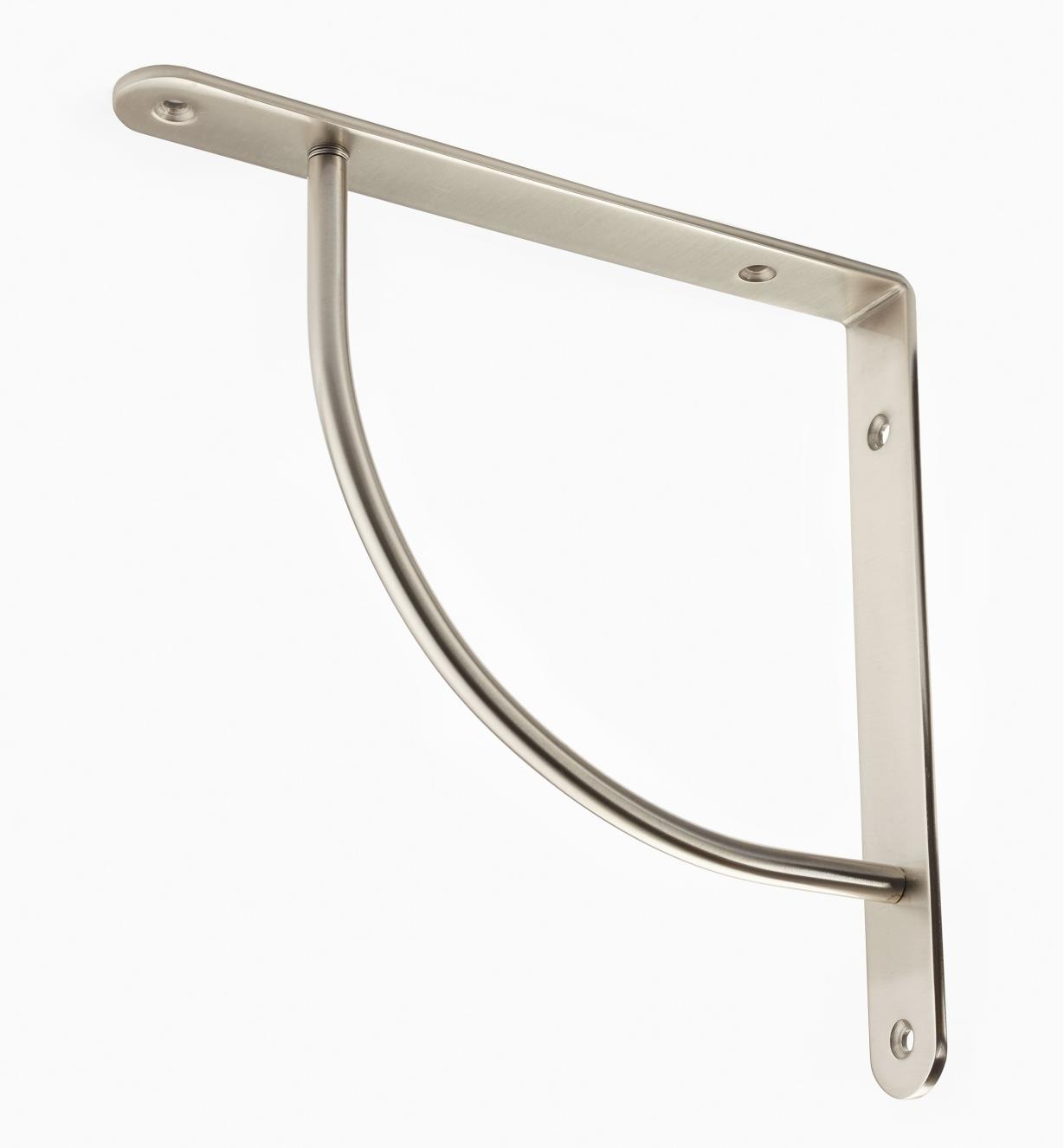 "00S0654 - Brushed Nickel Finish, Convex Steel Shelf Bracket (8 3/4"" x 8 3/4""), ea."