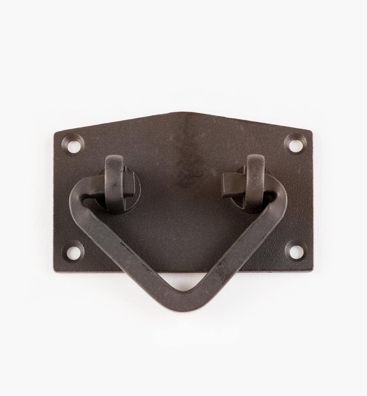00D5560 - Poignée sur platine Tansu de 76 mm x 60 mm, fini noir vieilli