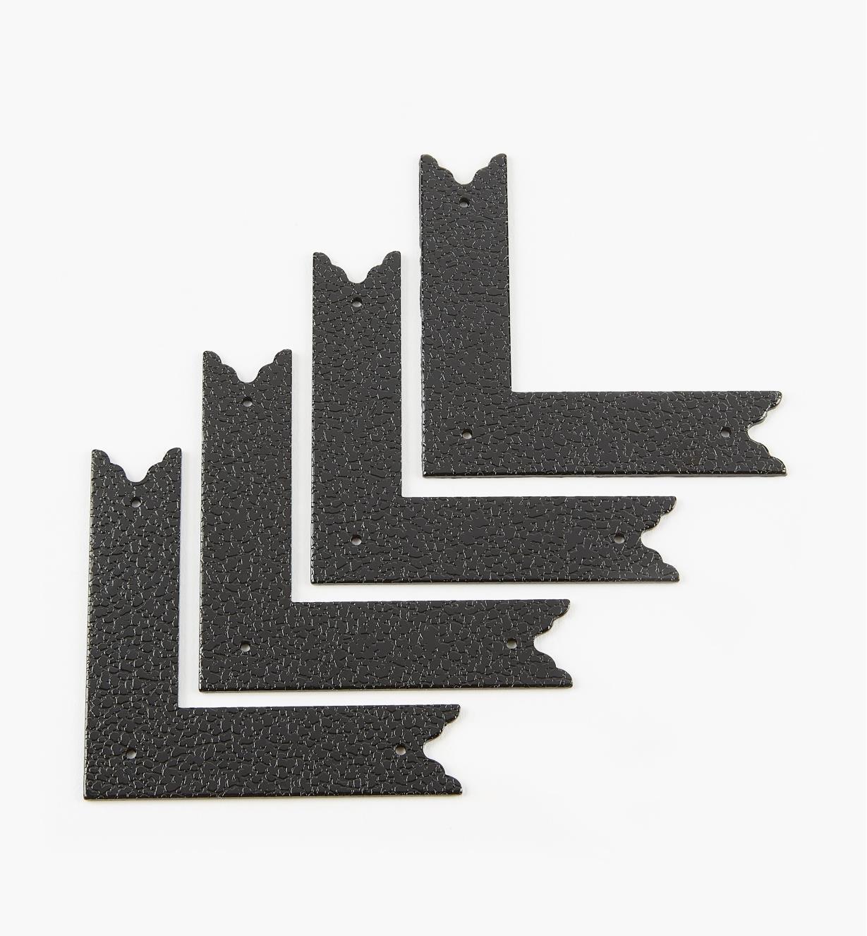 00D5611 - Équerres plates de 70 mm x 70 mm (17 mm), quincaillerie Tansu, fini estampé, le paquet de 4