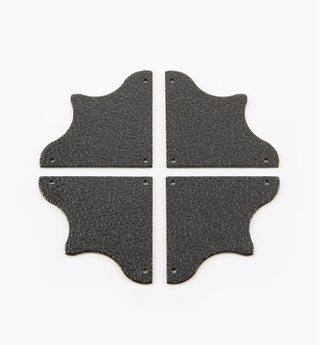 00D5635 - Plaques de coin de 49 mm x 49 mm, quincaillerie Tansu, fini estampé, le paquet de 4