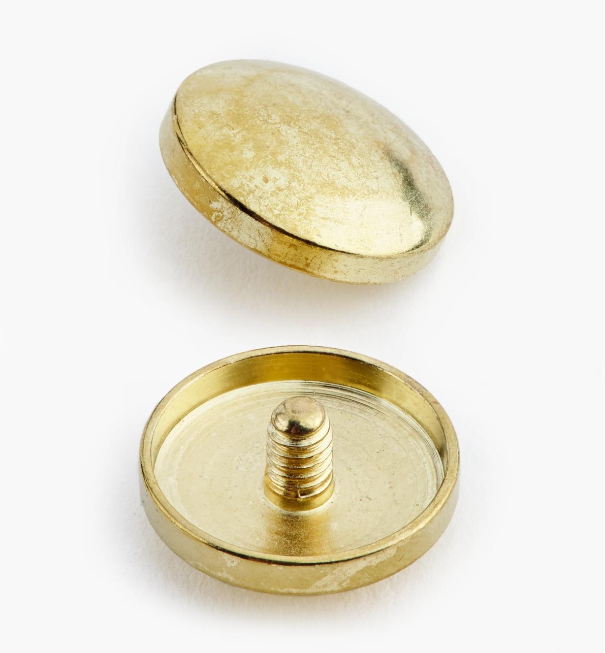 00K4102 - Cache-vis, fini laiton poli, 15 mm, le paquet de 24
