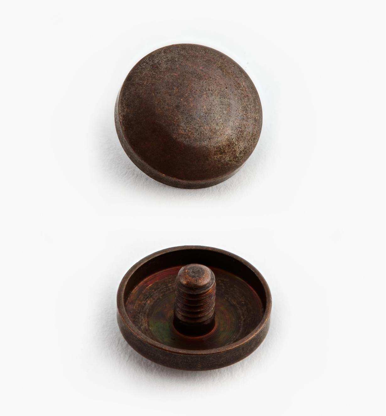 00K4201 - Cache-vis, fini bronze antique, 12 mm,le paquet de 24
