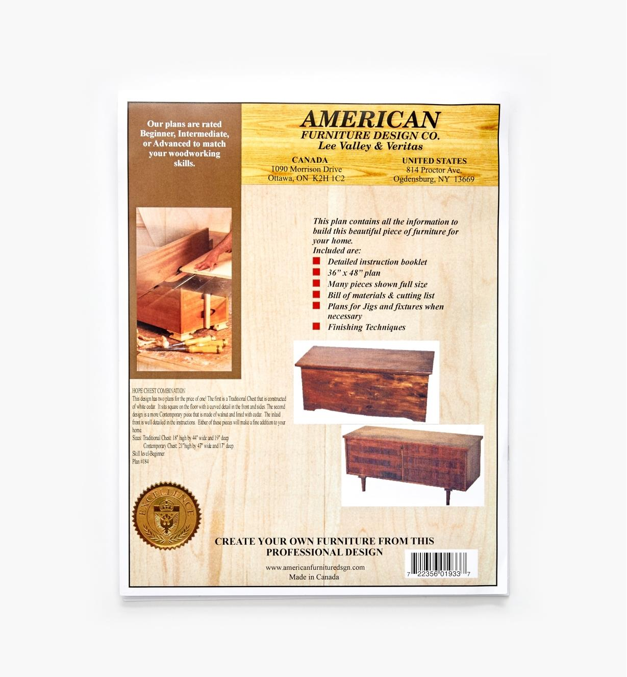 01L5073 - Traditional and Contemporary Hope Chest Plans, set of 2