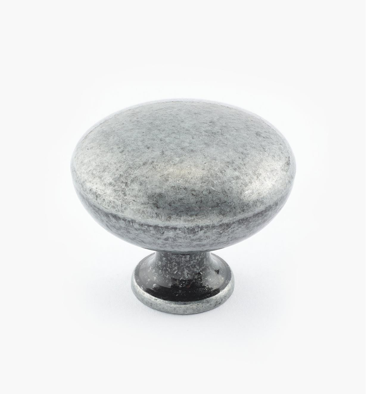 "02G1601 - 1 1/4"" x 1"" Antique Pewter Knob"