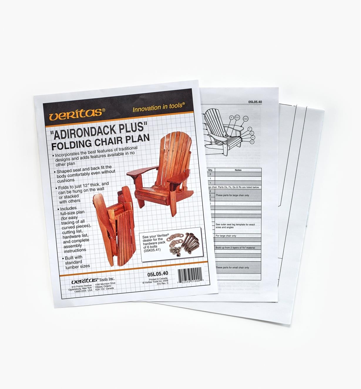 "05L0540 - Veritas ""Adirondack Plus"" Folding Chair Plan"