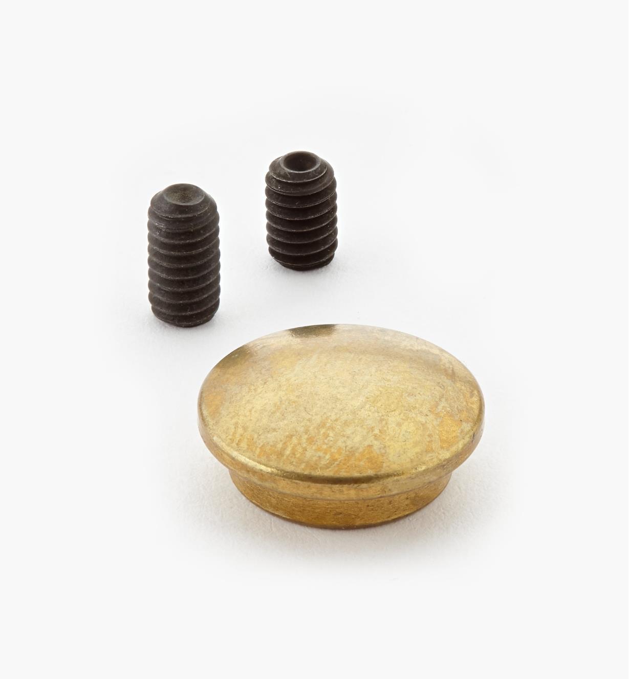 05G0602 - Cache-écrou en laiton pour ferrure d'assemblage démontable 1/4 20 de 3po Veritas, l'unité