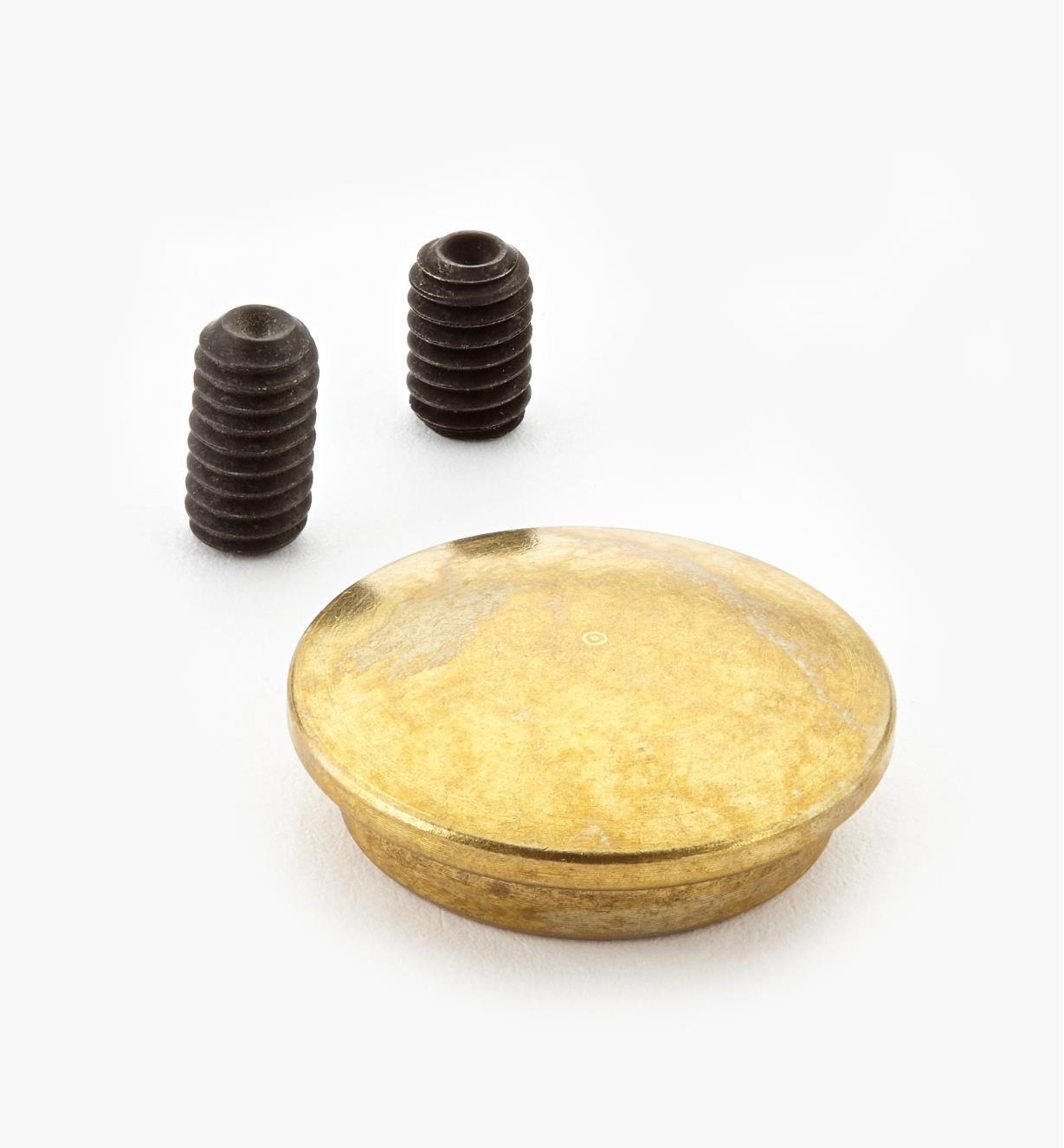 05G0612 - Cache-écrou en laiton pour ferrure d'assemblage démontable 5/16 18 de 4po Veritas, l'unité
