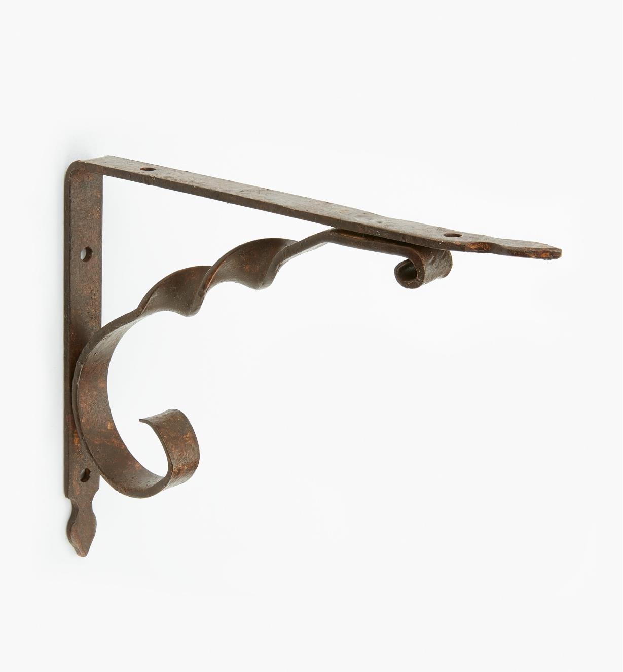 00S2790 - Dark Rust Wrought-Iron Twist Shelf Bracket