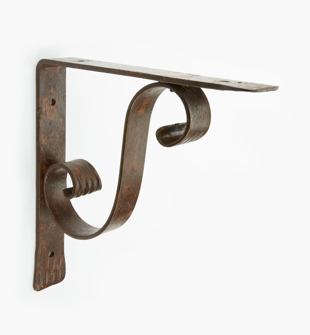 00S2793 - Dark Rust, Scroll, Wrought-Iron Shelf Bracket, each (200mm x 200mm)