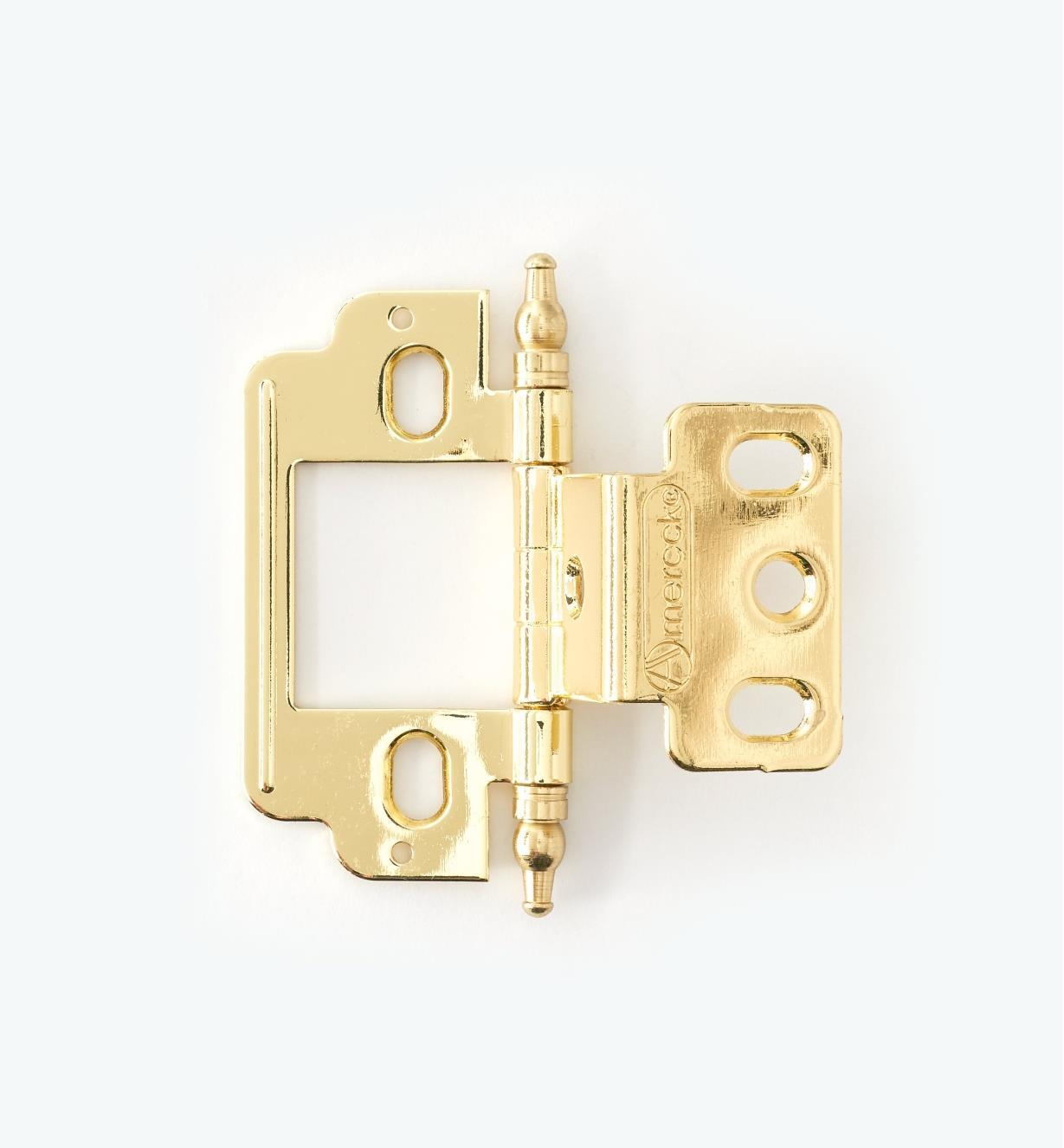 01H3120 - Partial-Wrap Hinge,Brass Plate, Minaret