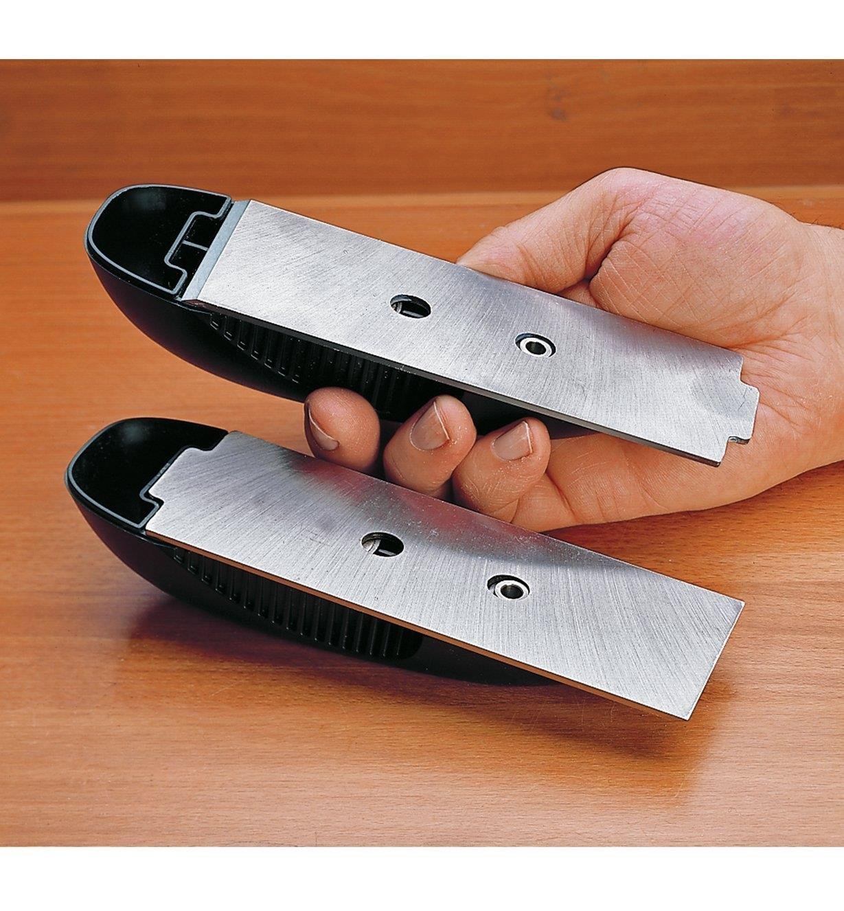 Two Veritas flush planes, one showing the plane blade installed for use, the other showing the blade reversed for storage.