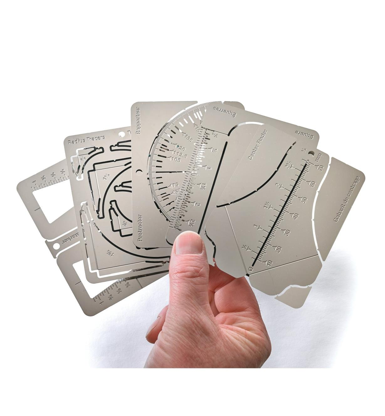 Wallet Tool Cards the way they are supplied, as flat stainless-steel sheets