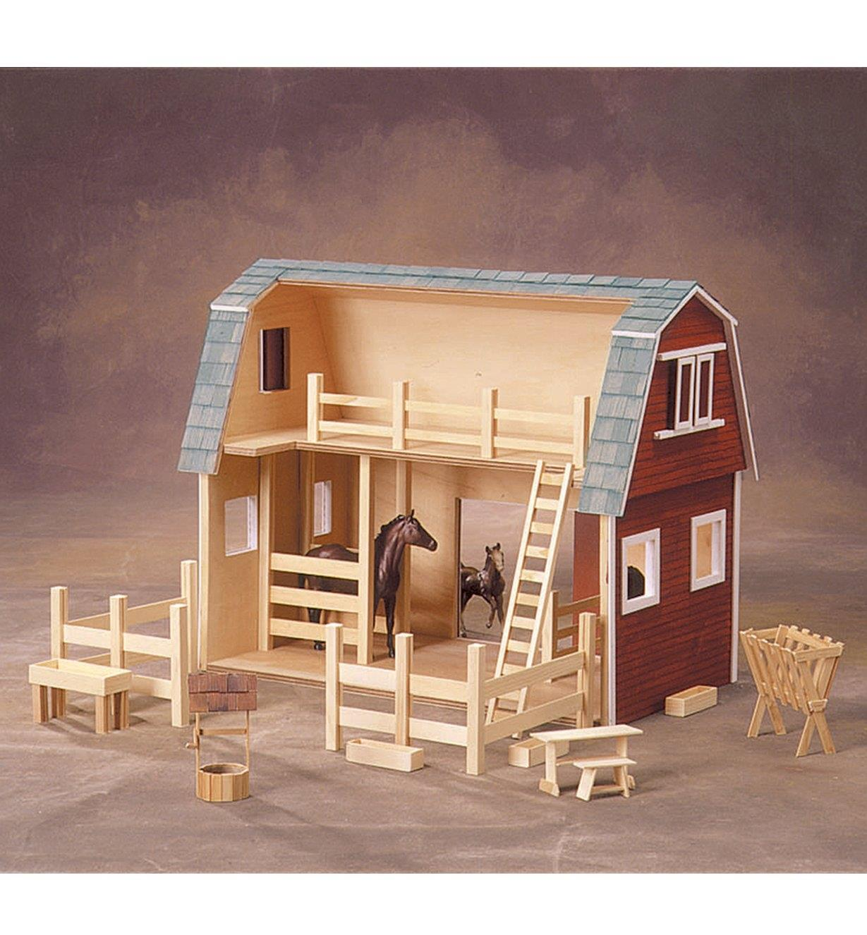 Interior view of the assembled Country Barn Deluxe Dollhouse Kit
