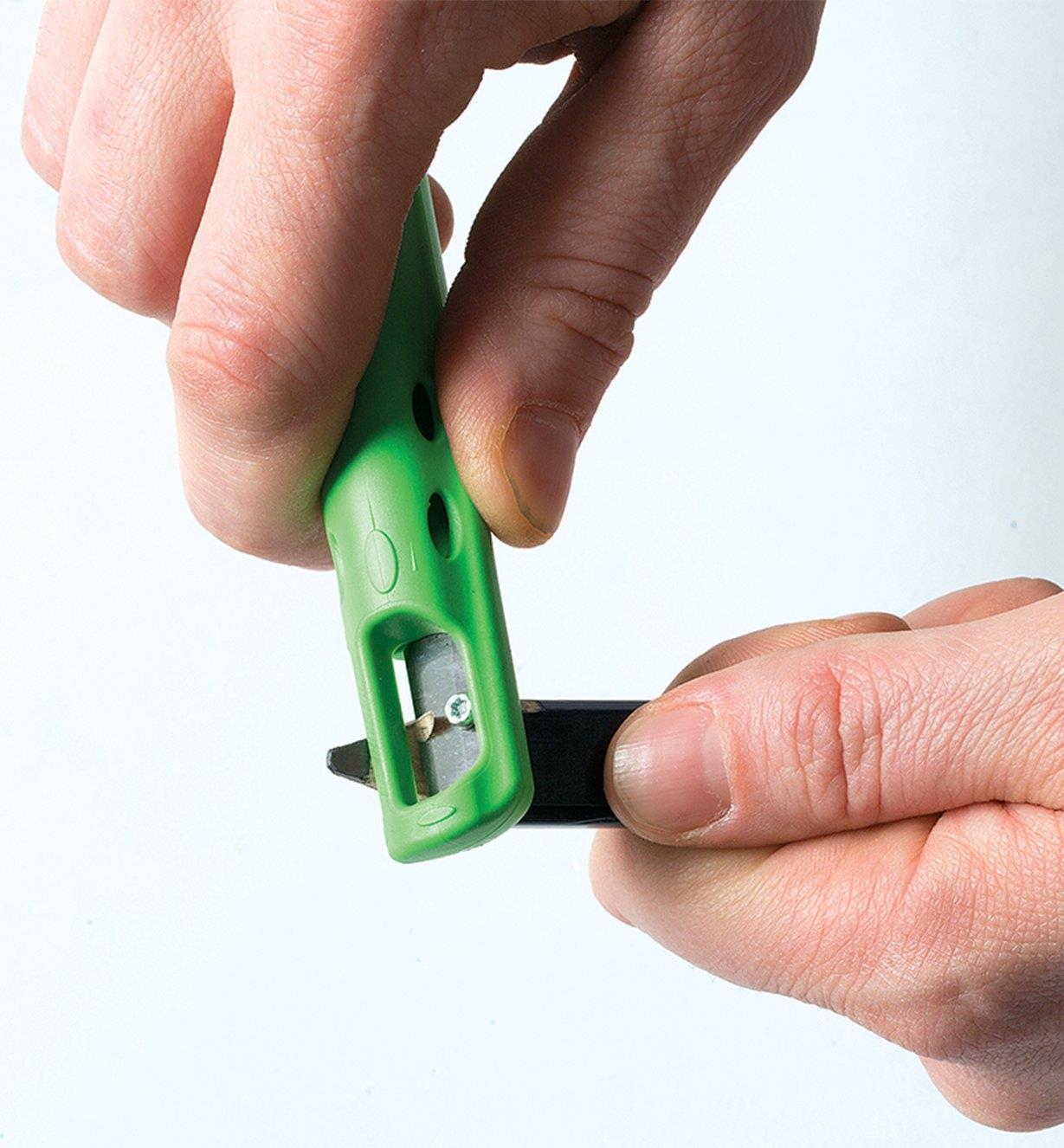 Close-up of sharpener on end of Pica-Pocket Holster