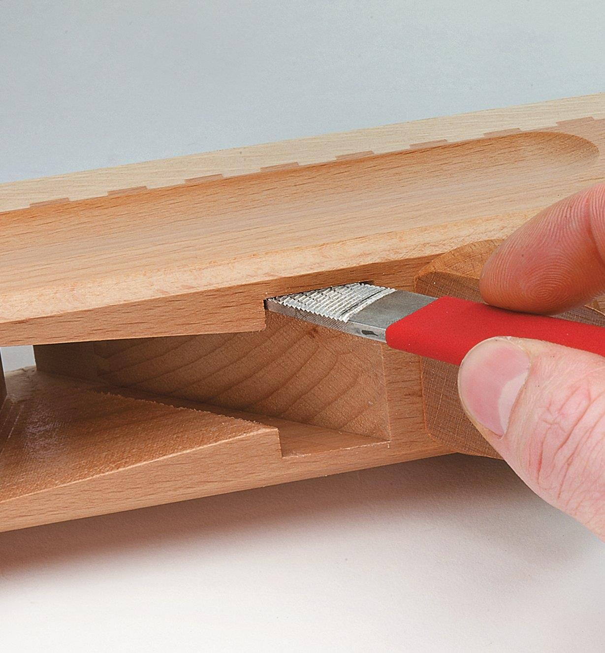 Smoothing the sides of a plane mortise with the X-Fine Side Plane-Maker's Float