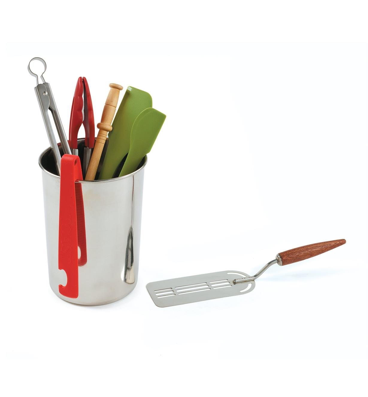 Stainless-Steel canister holding various kitchen utensils