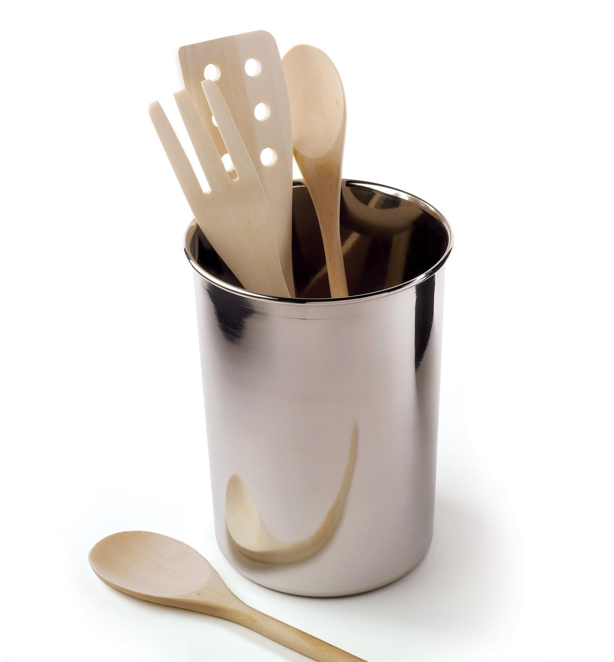 Stainless-Steel canister holding wooden utensils