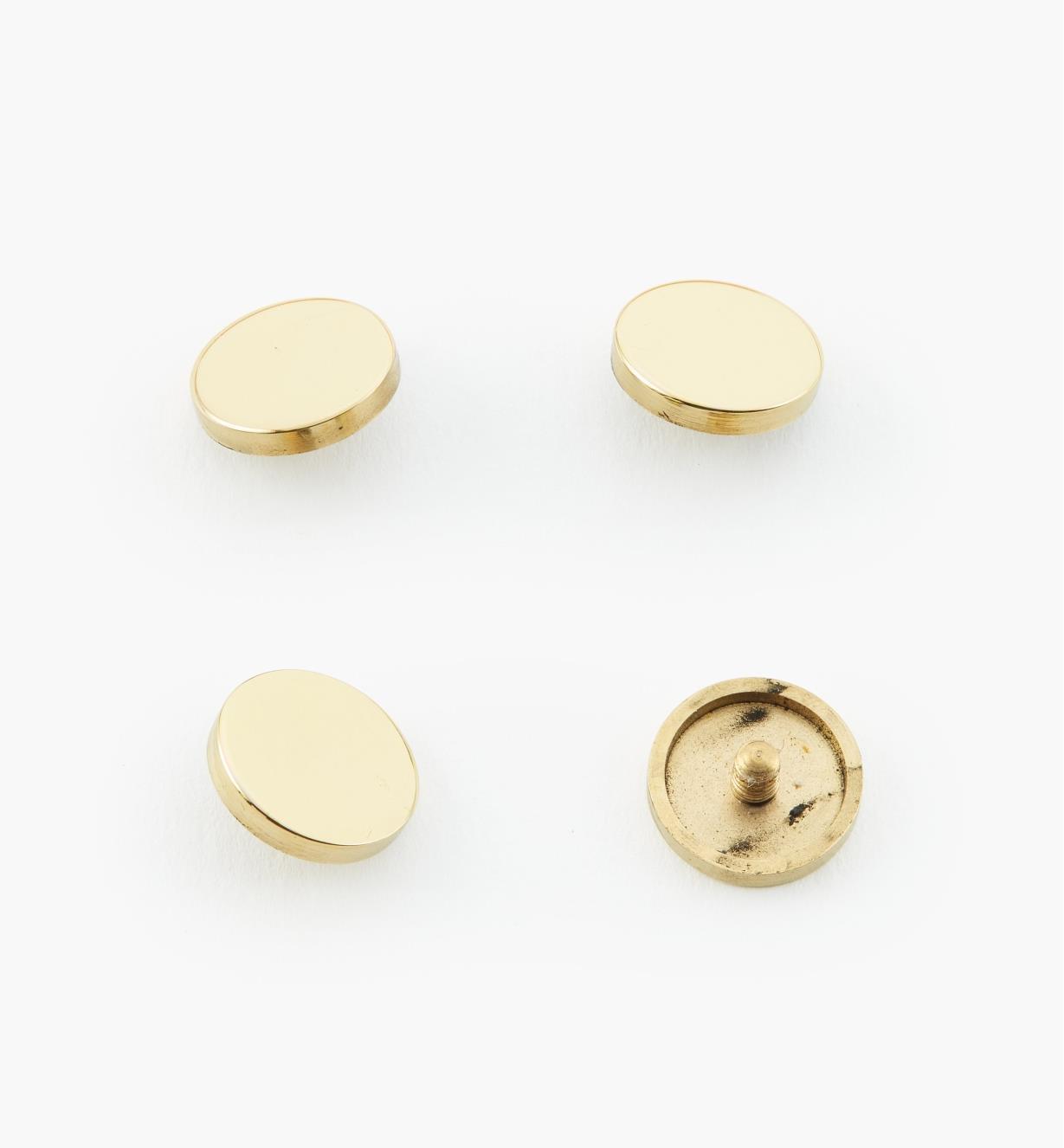 "00K4520 - 1/2"" Polished Brass Flat Cap #1, pkg. of 4"