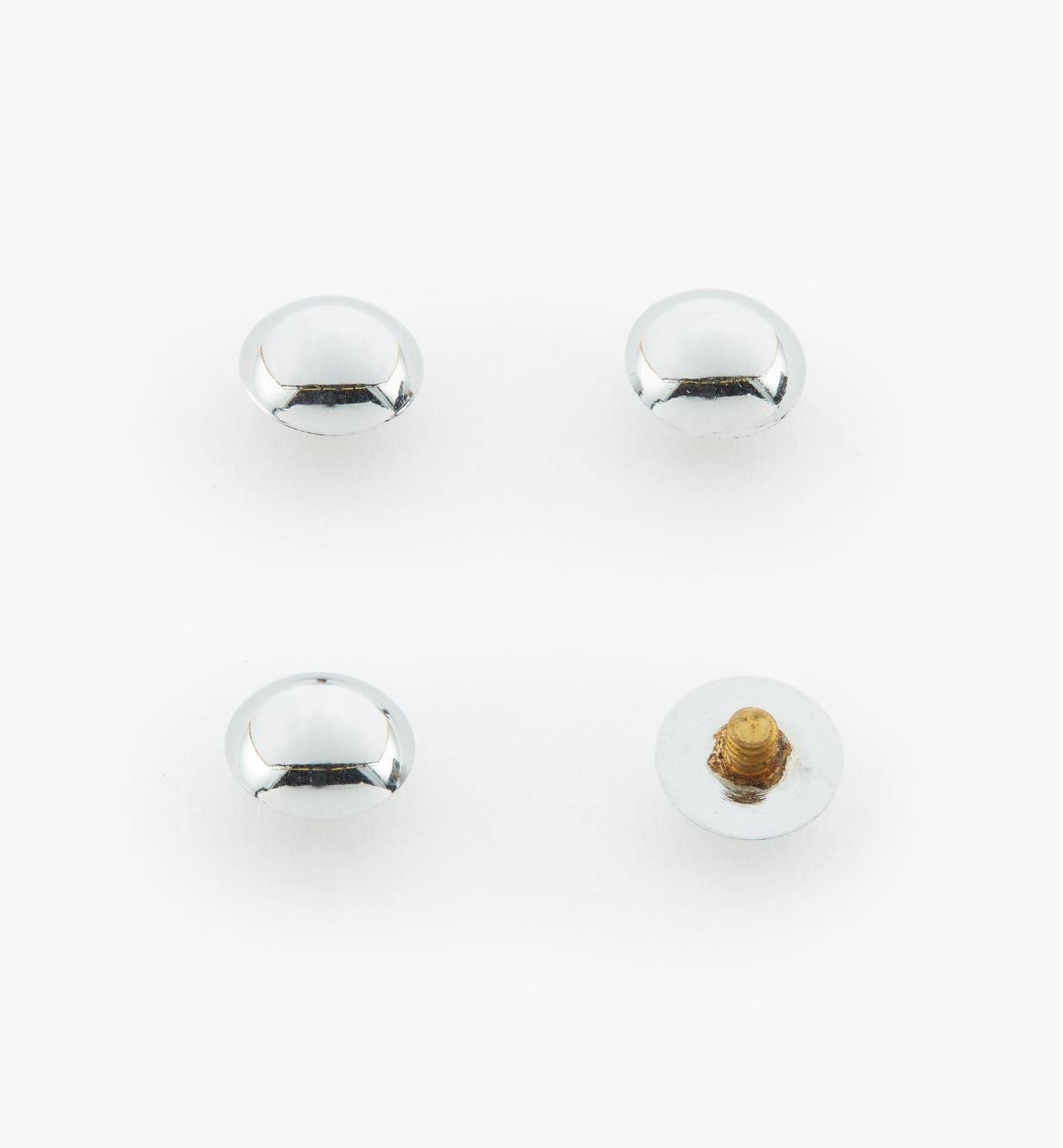 00K4540 - Cache-vis en laiton bombés no 1, 3/8 po, fini chrome poli, le paquet de 4