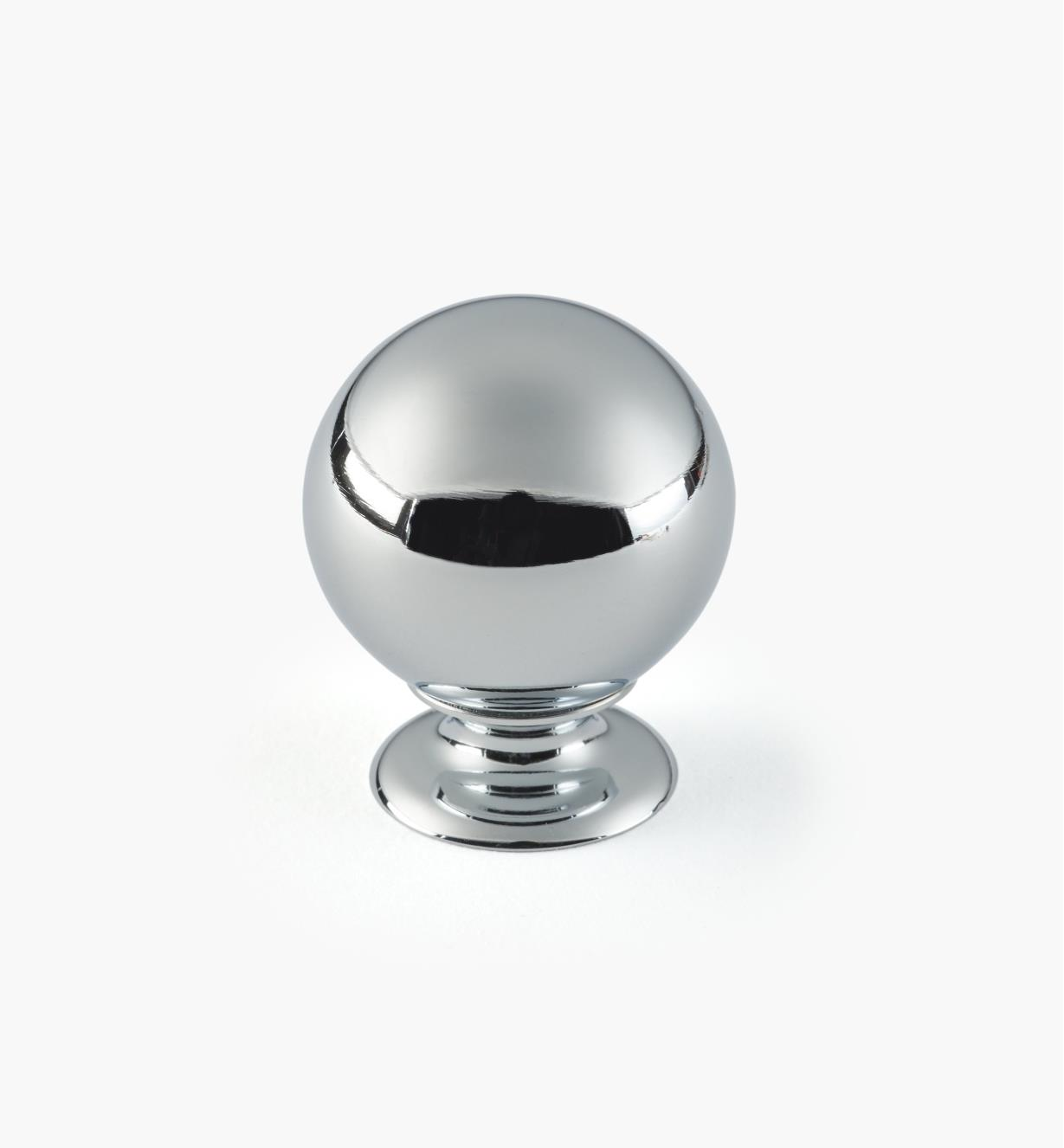 "01W1801 - 1 1/8"" x 1 7/16"" Chrome Plate Ball Knob"