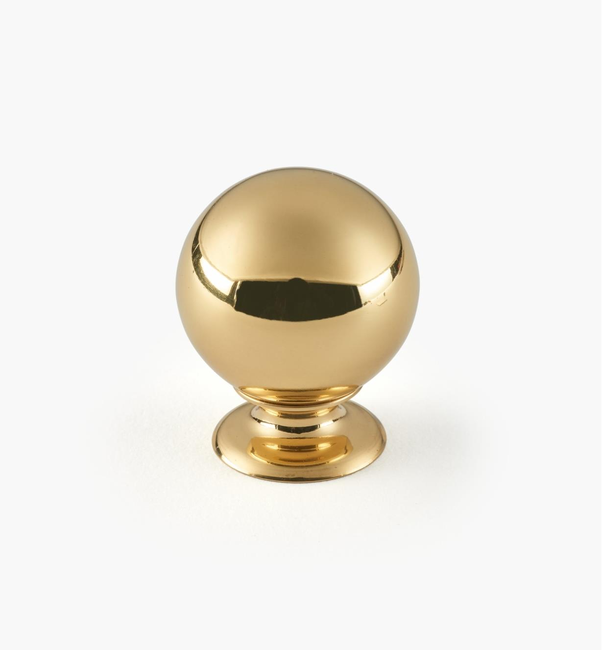 "01W1901 - 1 1/8"" x 1 7/16"" Polished Brass Ball Knob"