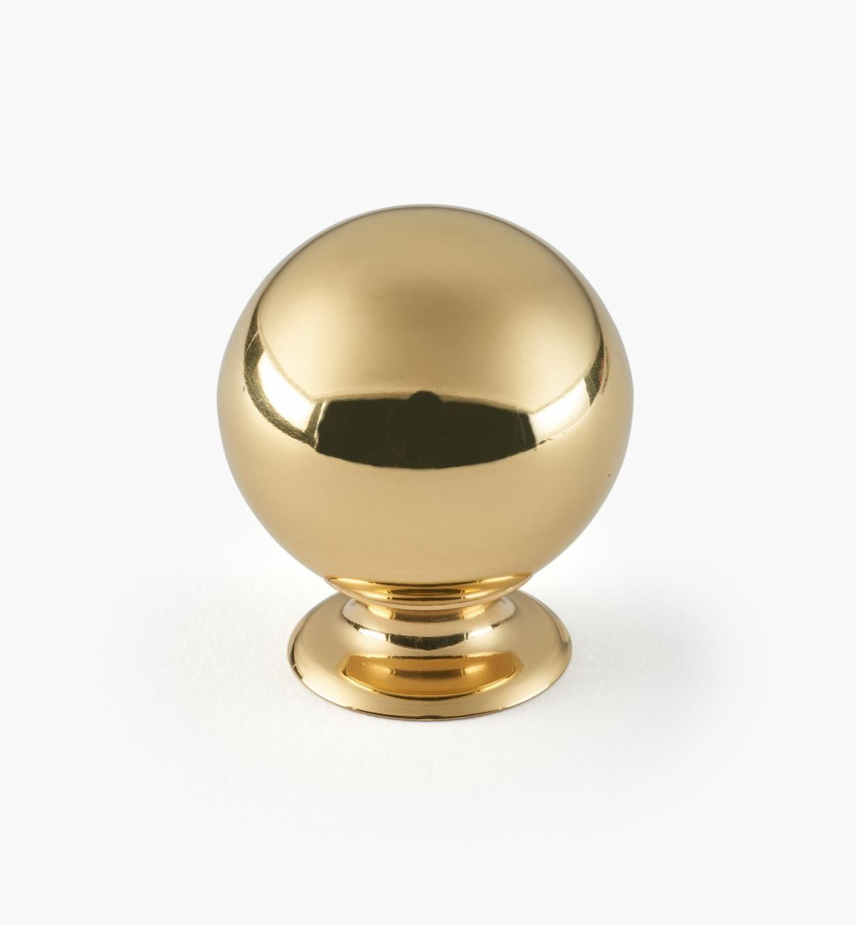 "01W1903 - 1 3/8"" x 1 5/8"" Polished Brass Ball Knob"