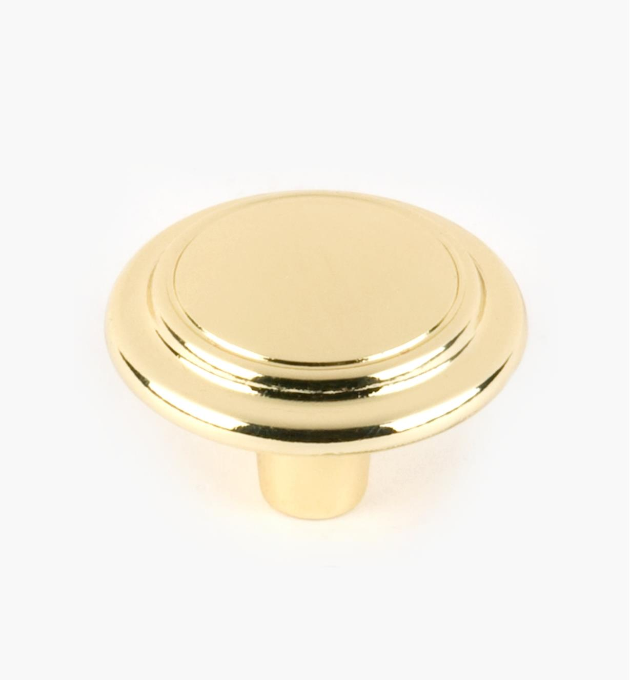 "03W1940 - 1 1/4"" × 7/8"" Brass Plate Accent Knob, each"