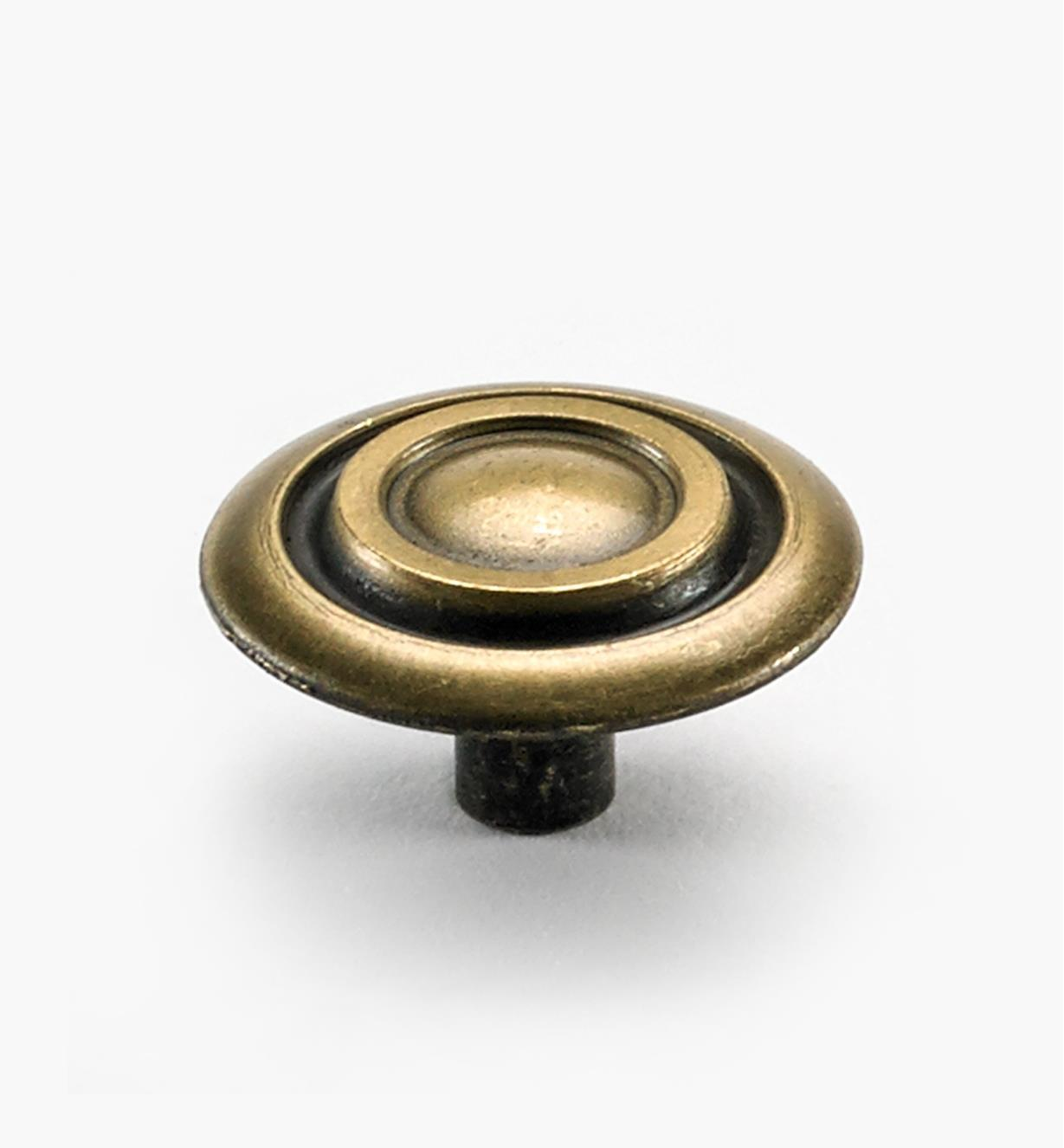 "03W2245 - 1 3/8"" x 3/4"" Antique Brass Cabinet Knob, ea."