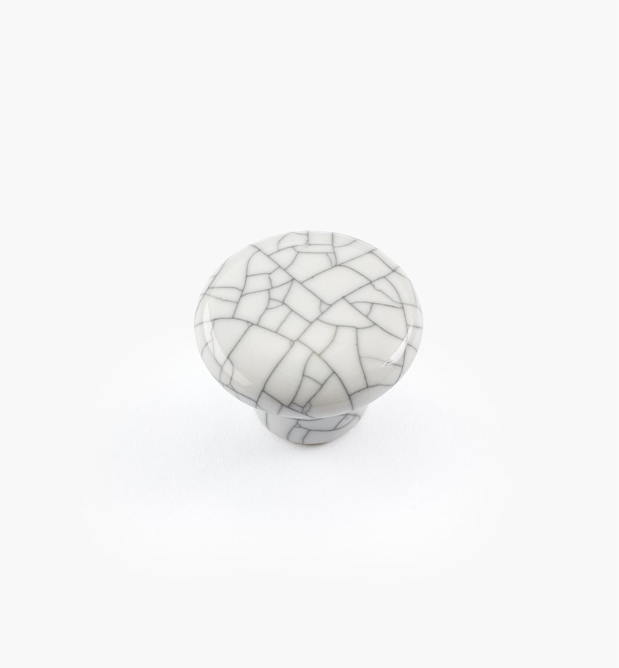 00W5201 - Bouton rond en céramique, série Craquelé, blanc, 1 po x 3/4 po