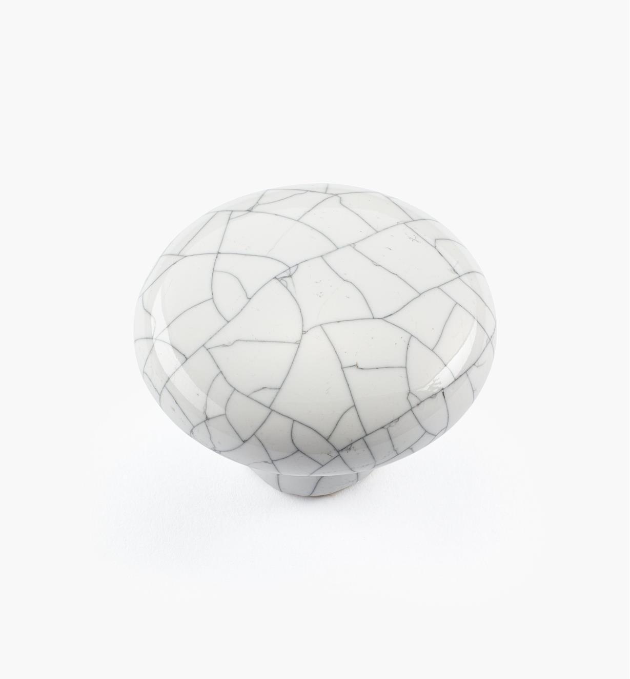 00W5203 - Bouton rond en céramique, série Craquelé, blanc, 1 1/2 po x 1 1/16 po