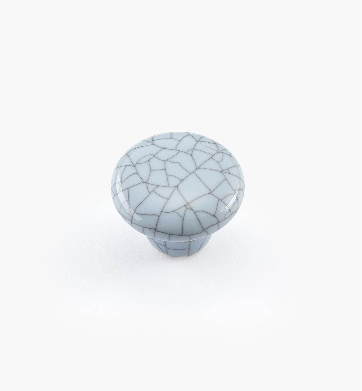 00W5211 - Bouton rond en céramique, série Craquelé, bleu, 1 po x 3/4 po