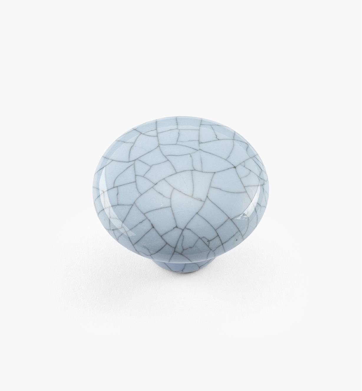 00W5212 - Bouton rond en céramique, série Craquelé, bleu, 1 1/4 po x 15/16 po