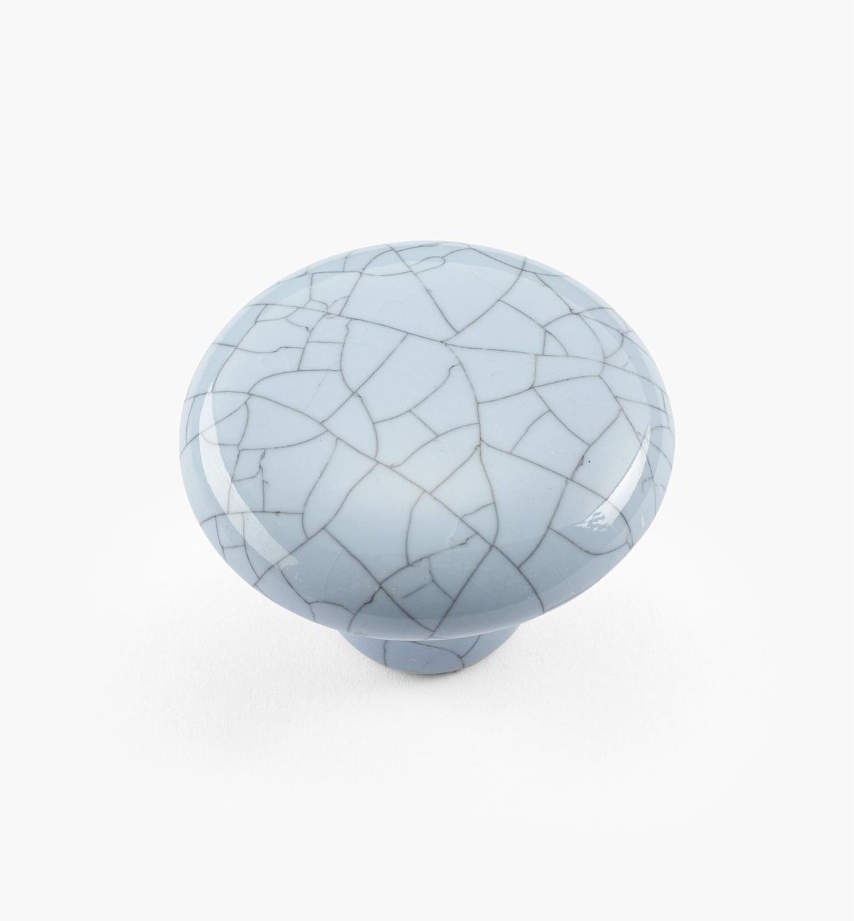 00W5213 - Bouton rond en céramique, série Craquelé, bleu, 1 1/2 po x 1 1/16 po