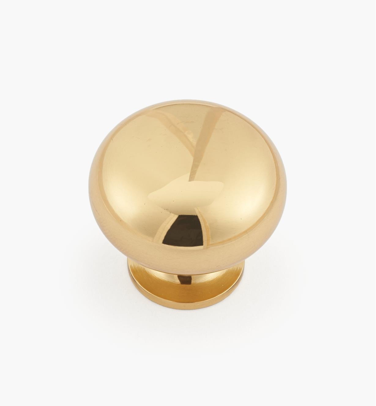 """00W5802 - 1 1/4"""" x 1 1/8""""Plain Classic Brass Knob"""
