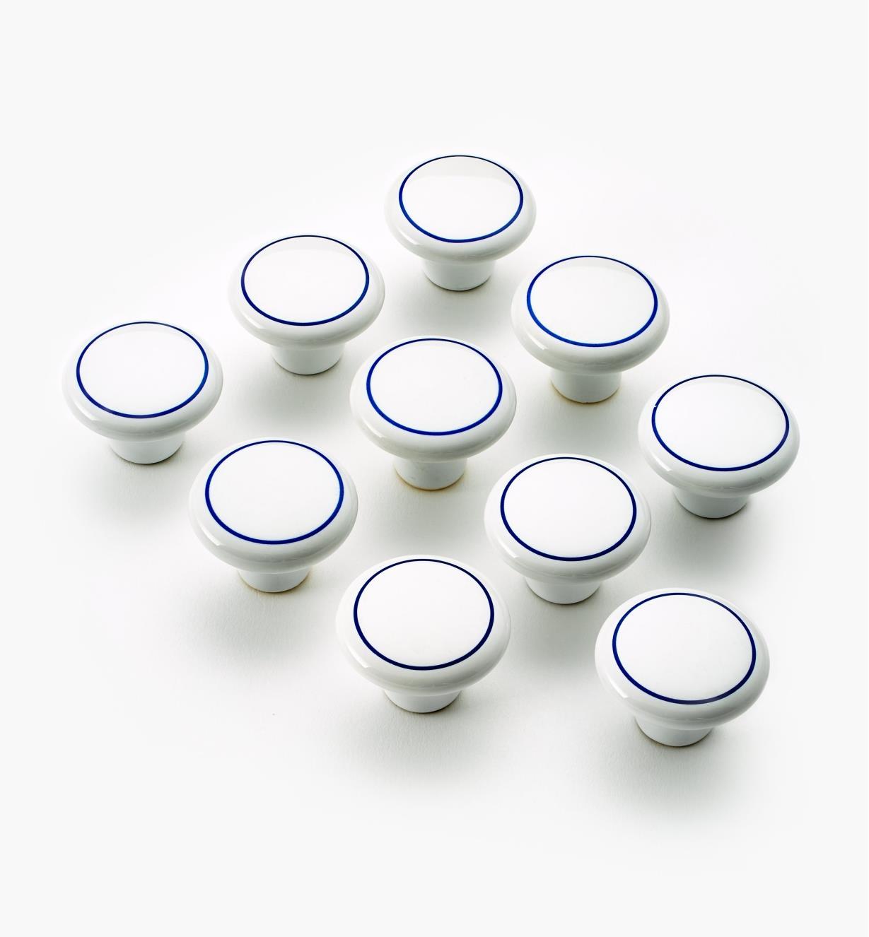 03W1630 - Boutons en céramique, anneau bleu, 11/2pox11/8po,lotde10