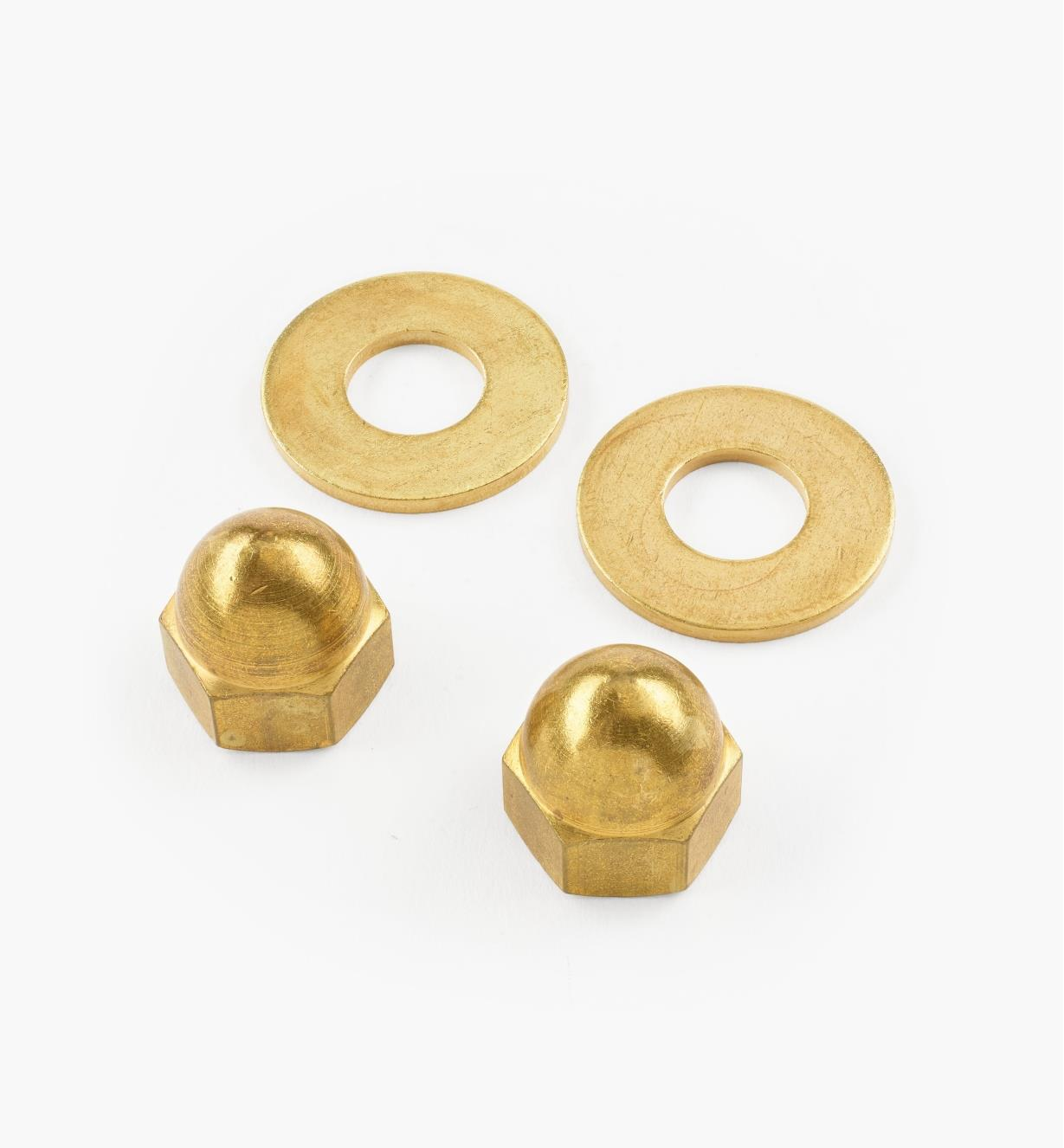 05K4602 - Brass Cap Nuts & Washers, pair